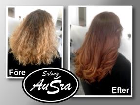 Risigt och svårhanterligt blir glänsande böljande hårsvall.
